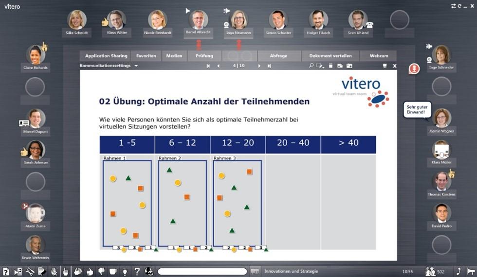 Screenshot von einer Umfrage zu der optimalen Teilnehmeranzahl bei virtuellen Sitzungen in vitero inspire